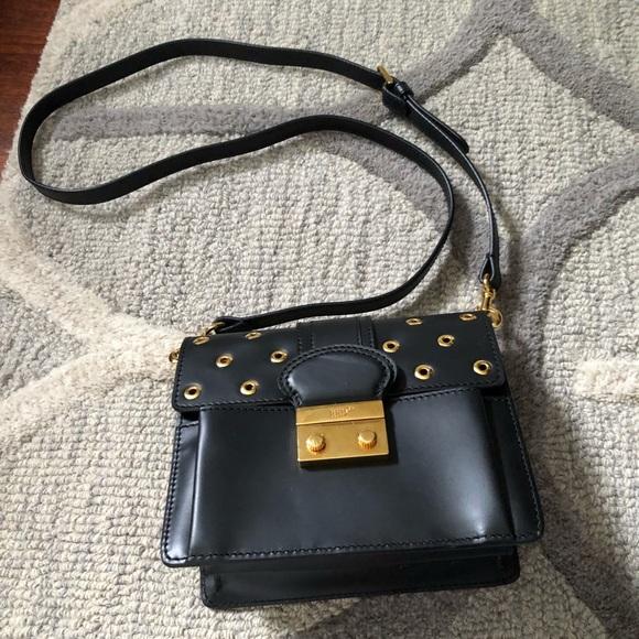 103bc2e9ff RED Valentino Bags | Black Leather Grommet Shoulder Bag | Poshmark